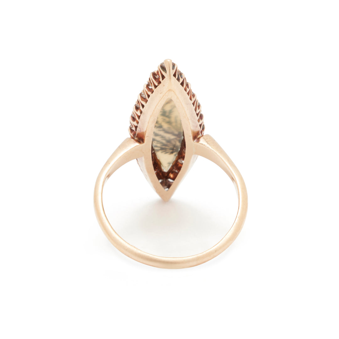 Victorian Moss Agate And Diamond 14K Gold Navette Ring