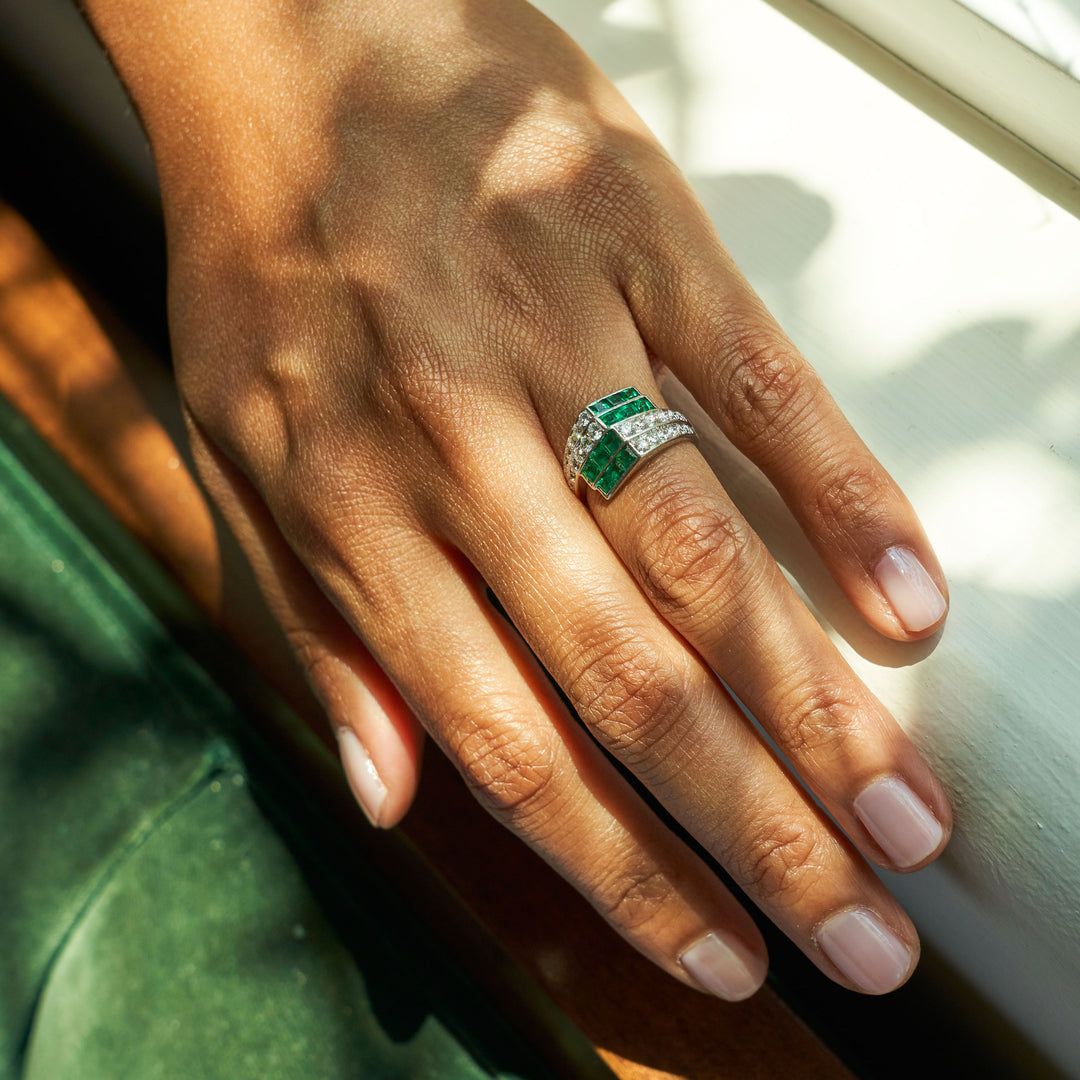 Emerald And Diamond Geometric Platinum Ring