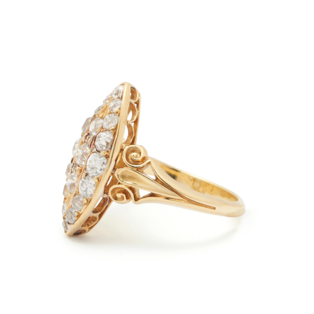 Victorian Old Mine Cut Diamond And 18k Gold Navette Ring