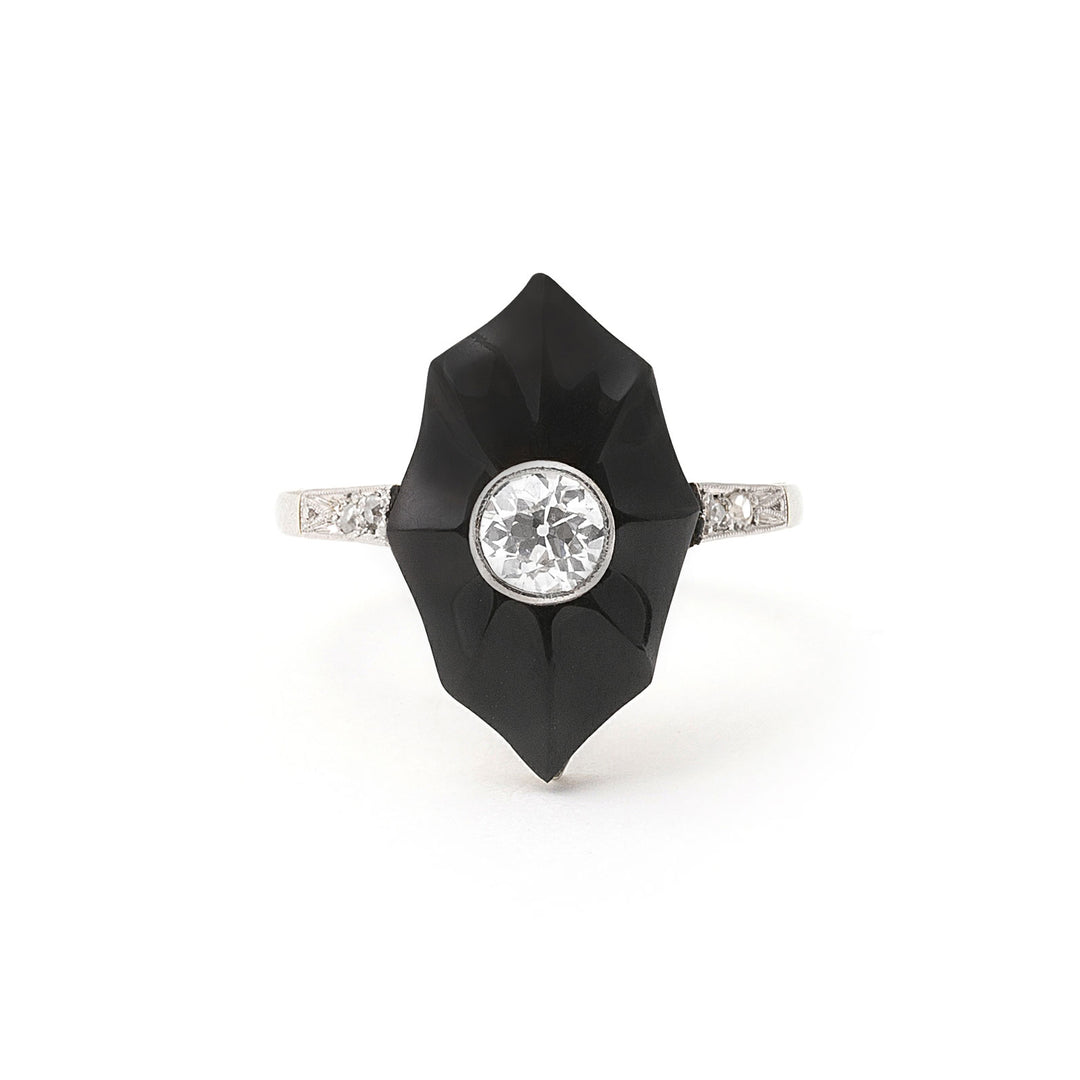Art Deco Carved Onyx And Diamond 18k Gold Ring