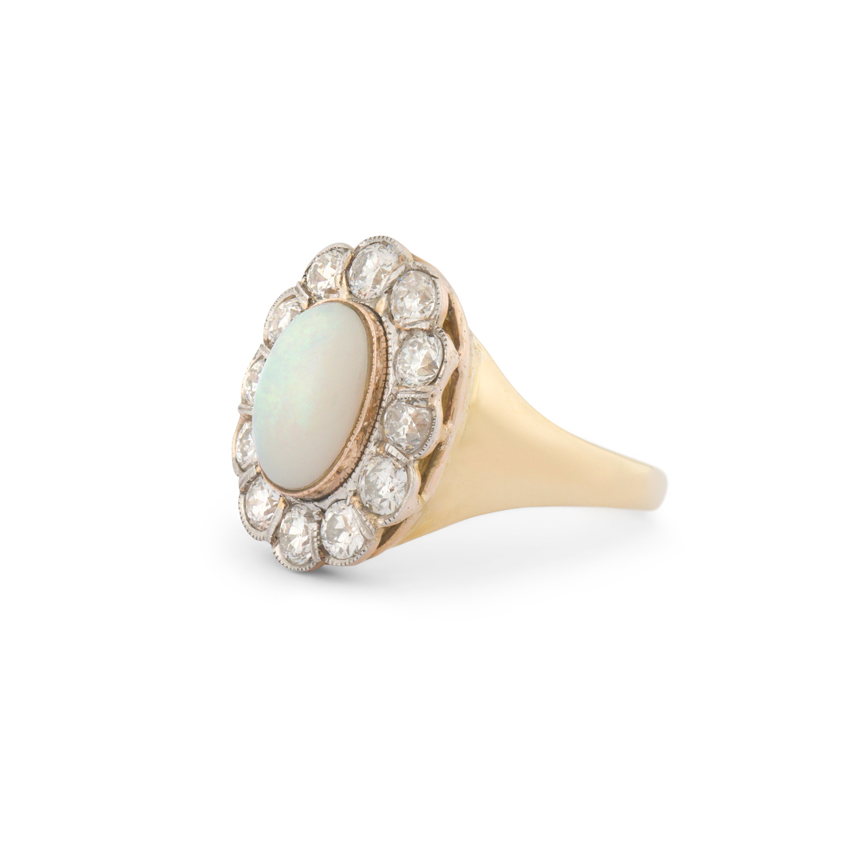 Opal And Diamond 18k Gold Cluster Ring