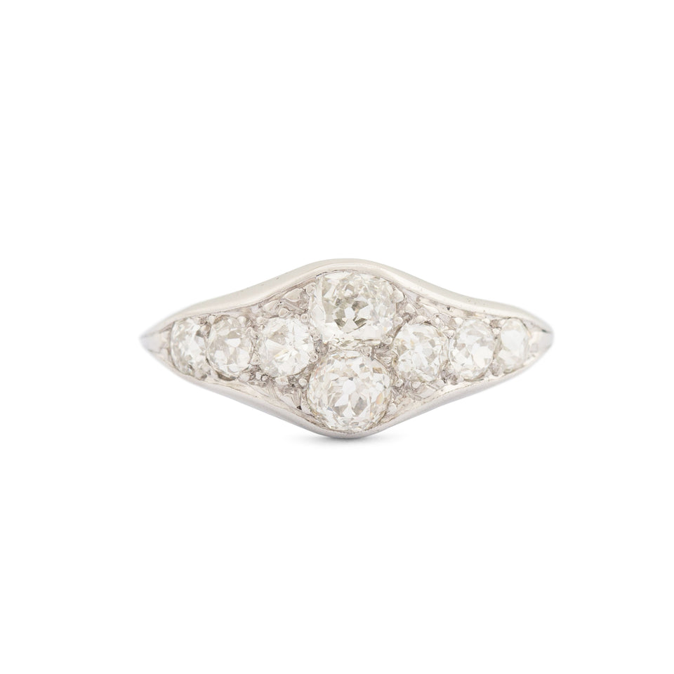 Art Deco Old Mine Cut Diamond And Platinum Ring