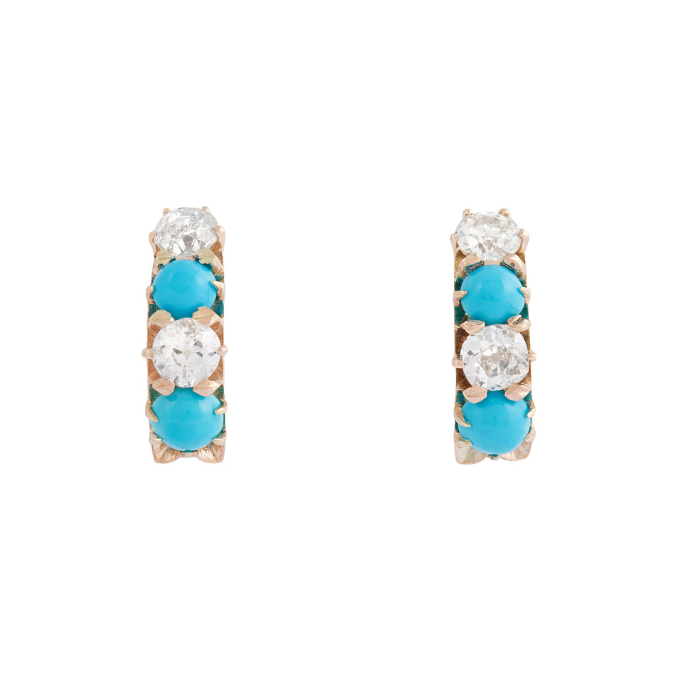 Victorian Old Mine Cut Diamond And Turquoise 14k Gold Earrings