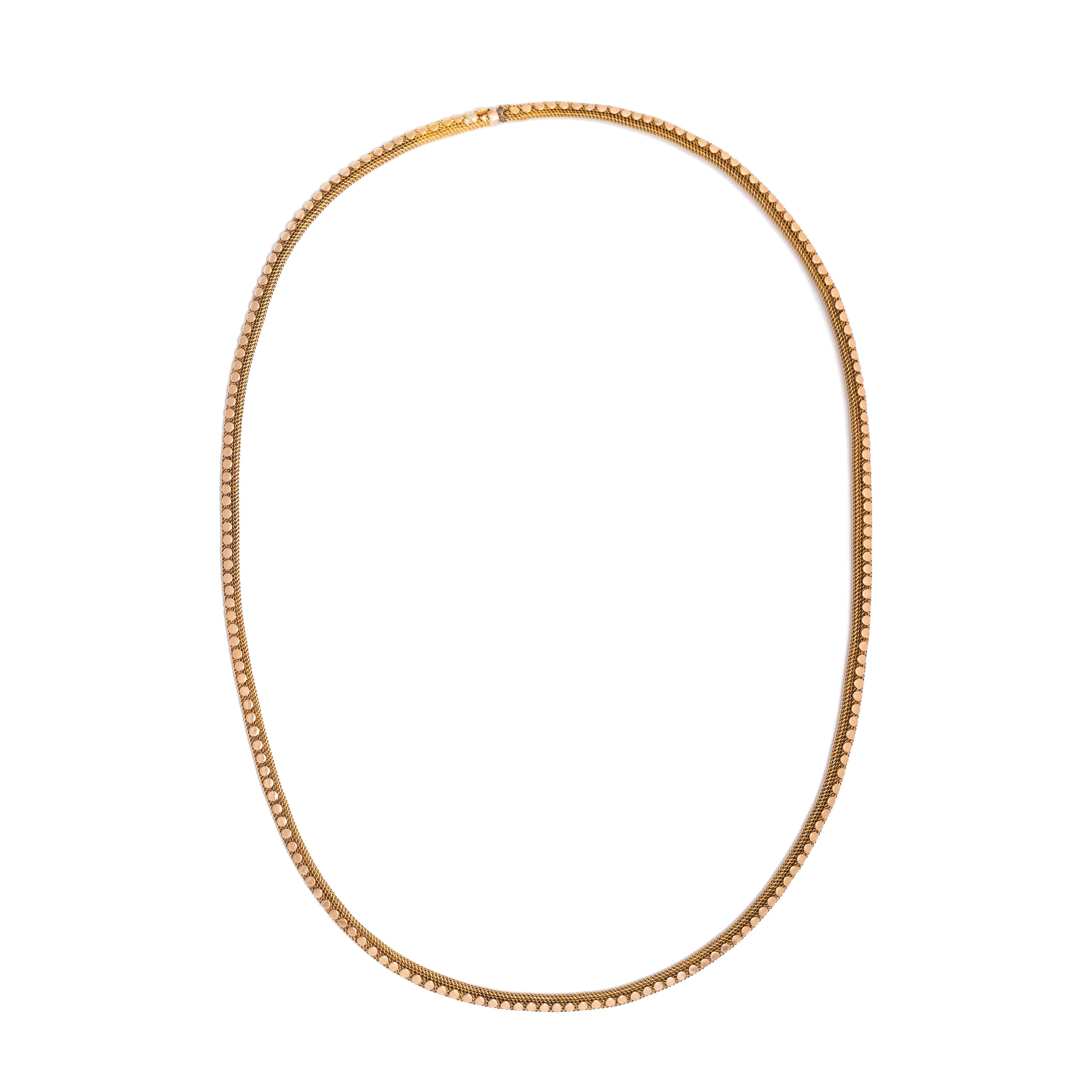 Victorian 18K Gold Mesh and Dot Chain Necklace