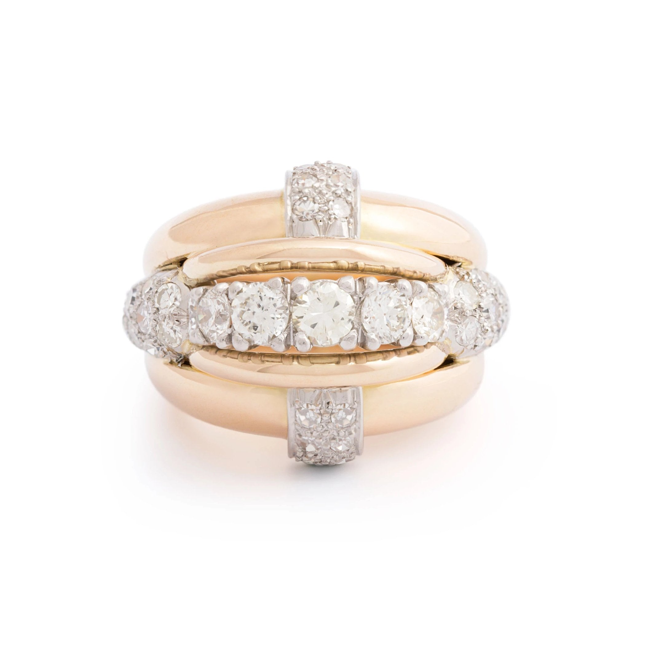 Retro Diamond, 18K Gold, and Platinum Bombe Cocktail Ring