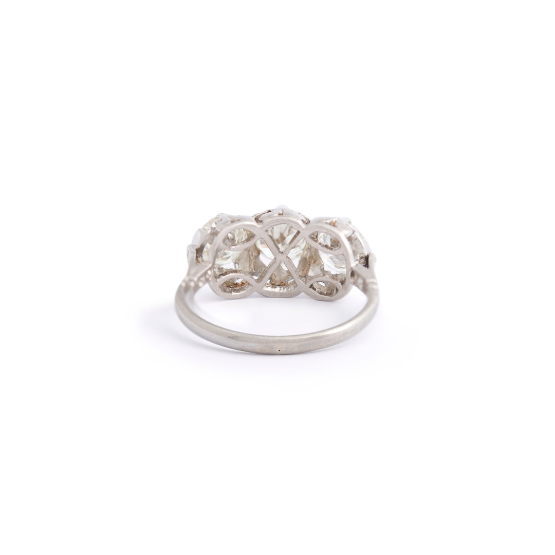 Old European Cut 3-Stone Diamond and Platinum Ring
