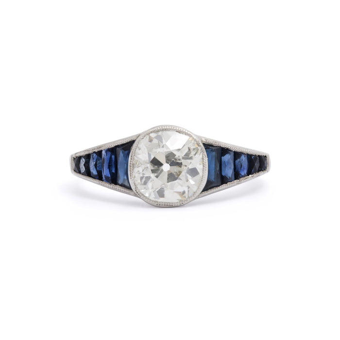 Art Deco 1.50 Carat Diamond and Sapphire Platinum Ring