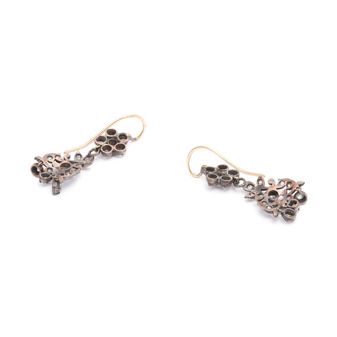 Victorian Old Mine Cut Diamond and Silver-Topped-14k Gold Dangle Earrings