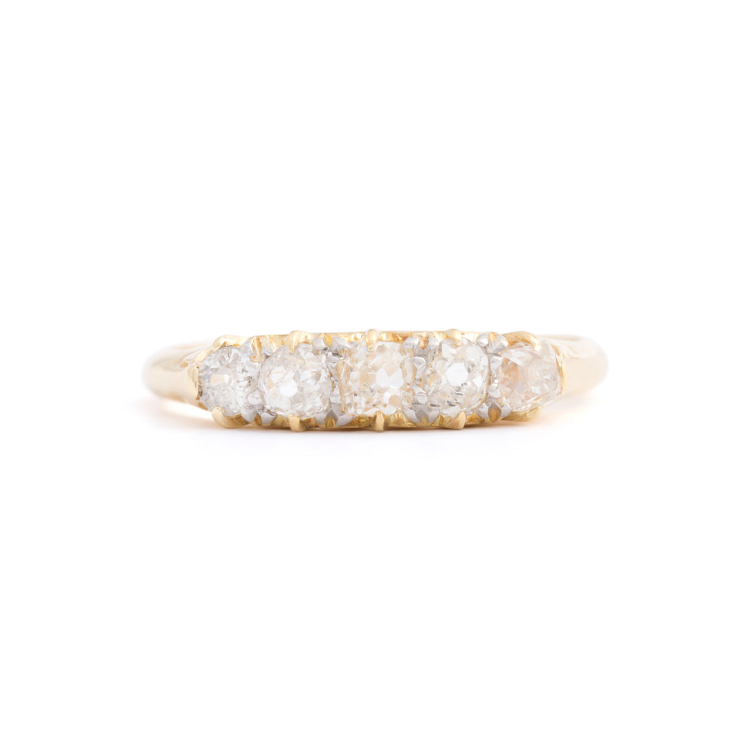 Victorian Old Mine Cut Diamond 5-stone and 18k Gold Ring