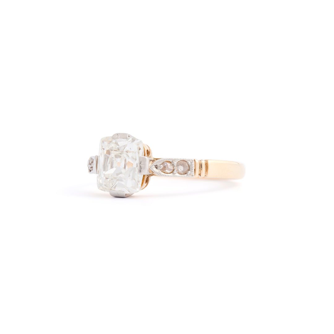 Edwardian 1.29 Carat Cushion Cut 14k Gold and Platinum Ring