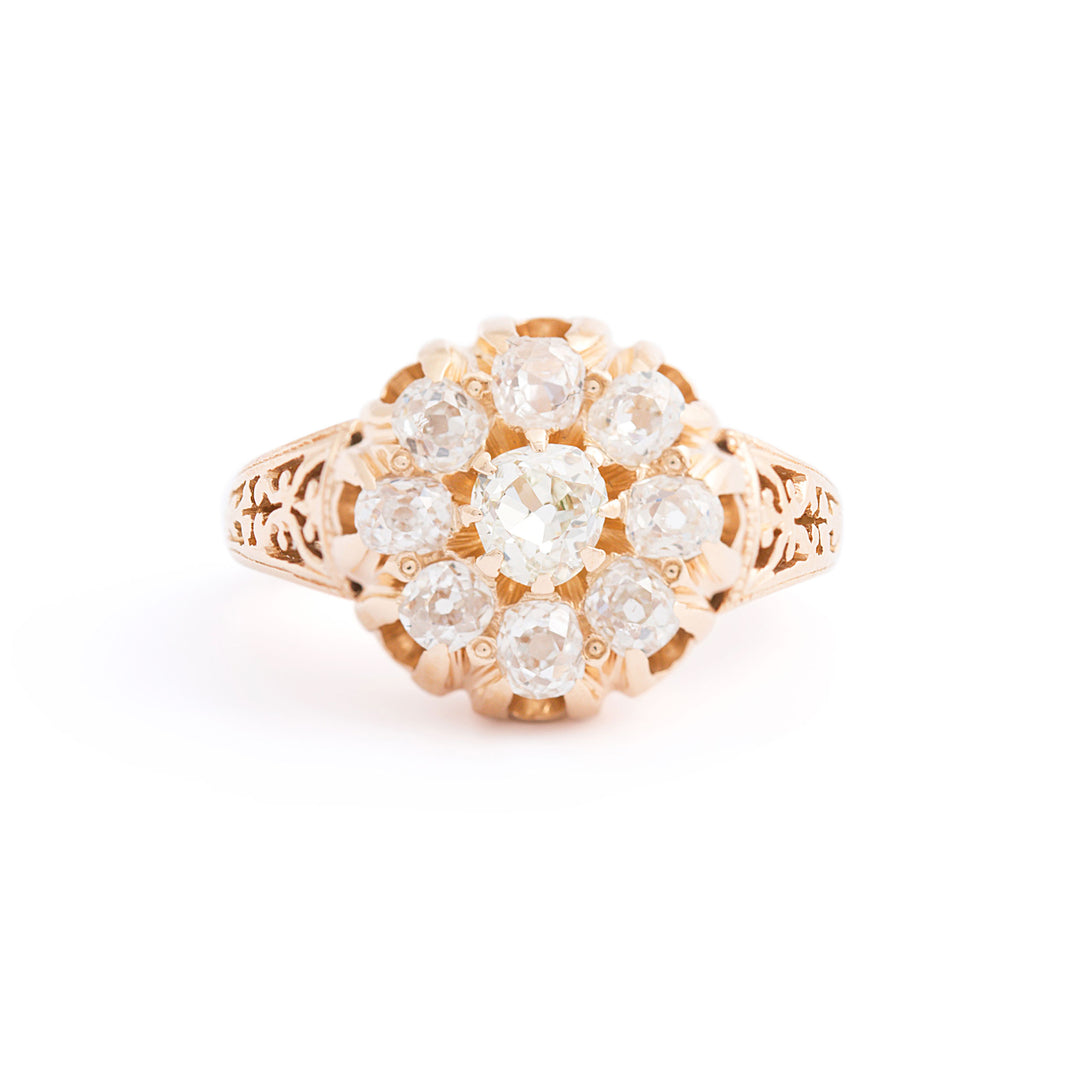 Victorian Old Mine Cut Diamond Cluster 18k Gold Ring