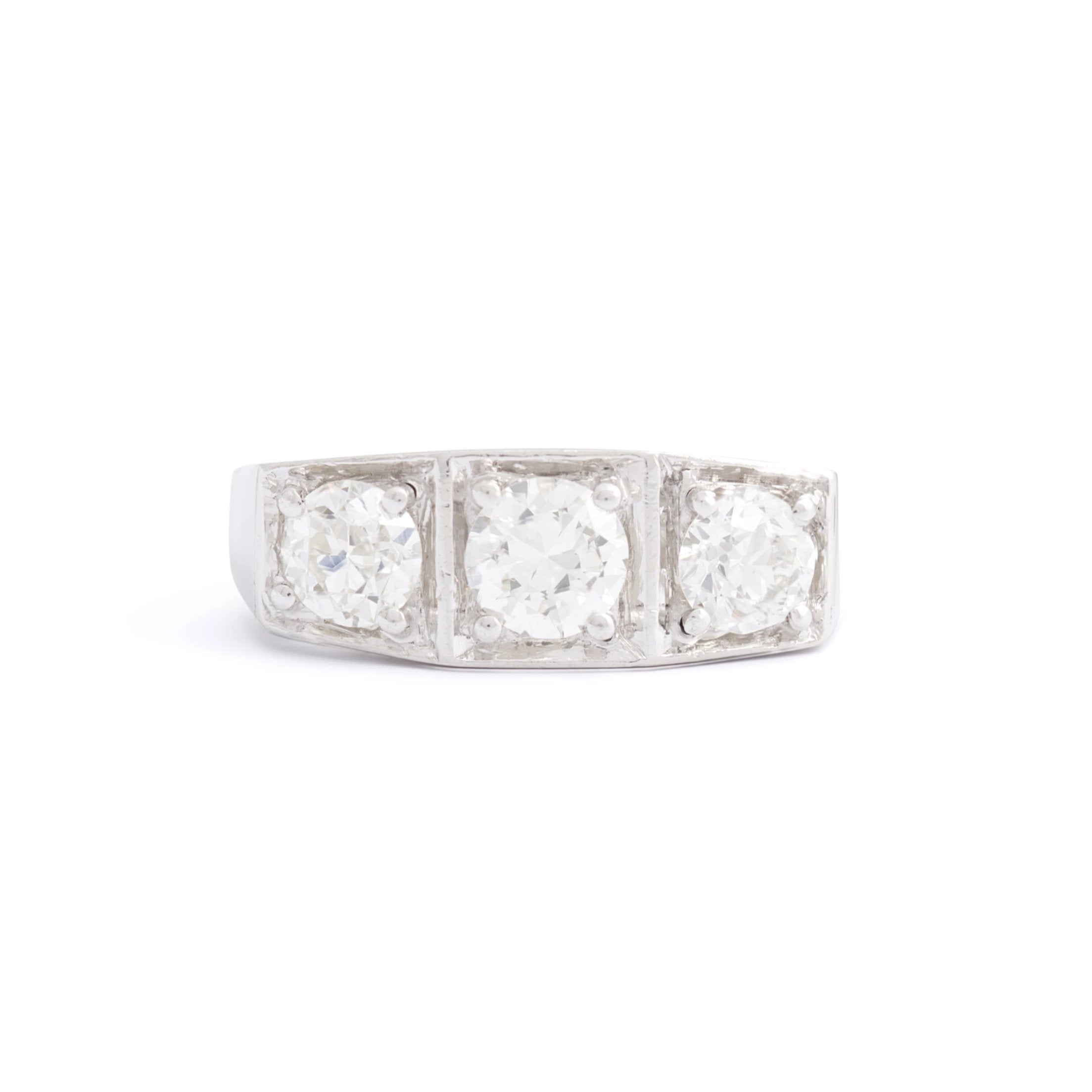 Art Deco 3-Stone Old European Cut Diamond and Platinum Ring