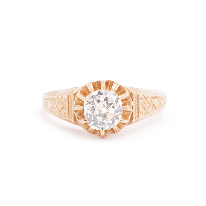 Victorian 0.85 Carat Old Mine Cut Diamond and 14k Gold Ring