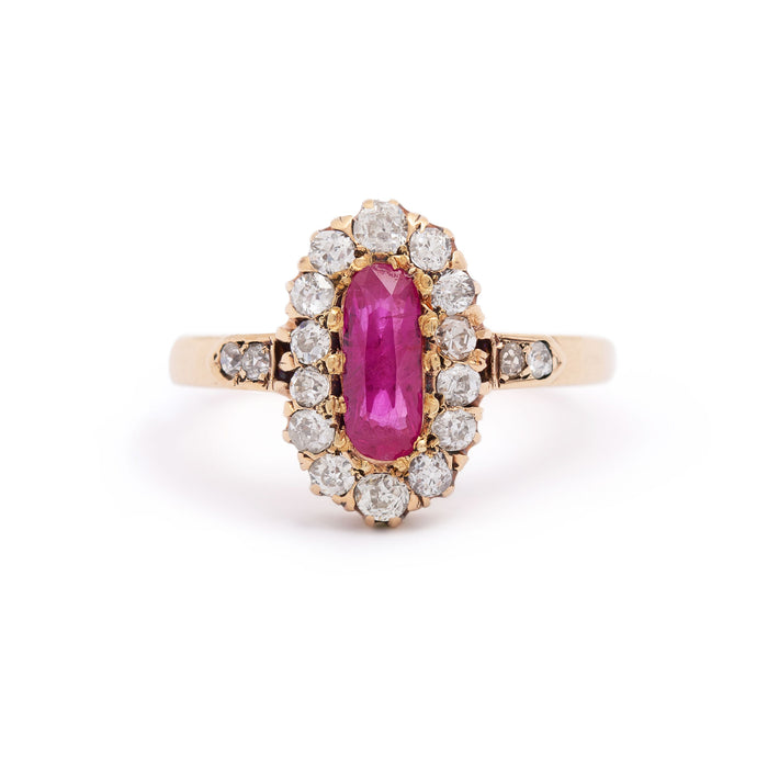 Victorian Ruby and Old Mine Cut Diamond Cluster 14k Gold Ring