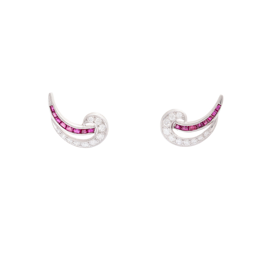 J.E. Caldwell Ruby and Diamond Platinum Earrings