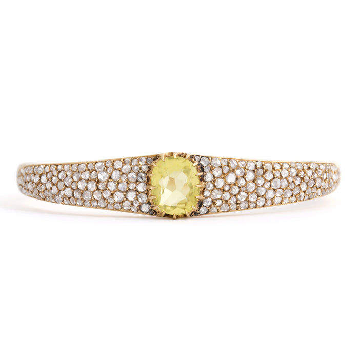Victorian Lime Green Citrine and Rose Cut Diamond 18k Gold Bracelet
