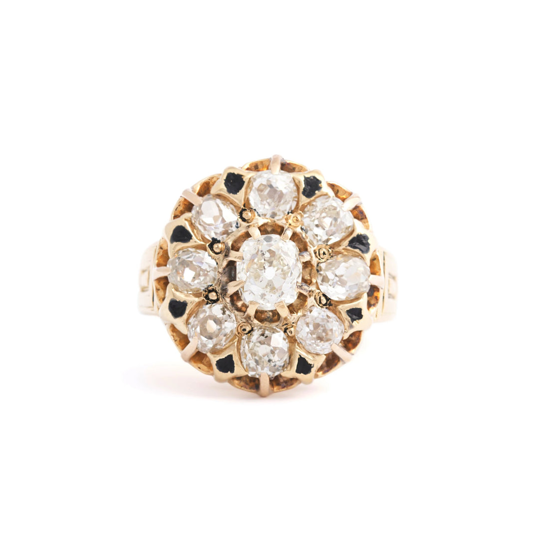 Victorian Old Mine Cut Diamond Cluster Ring with Enamel and 18k Yellow Gold