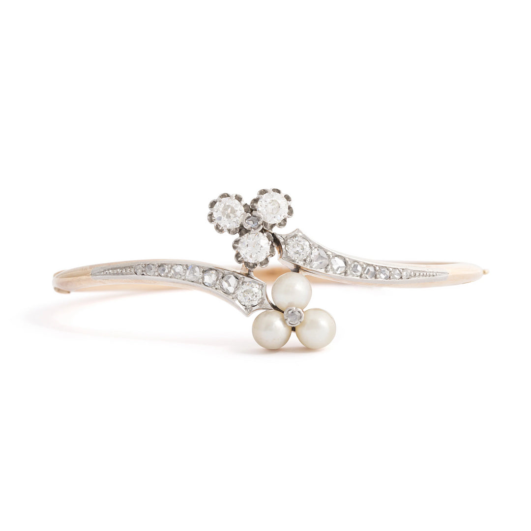 European Diamond and Pearl 18k Bangle Bracelet
