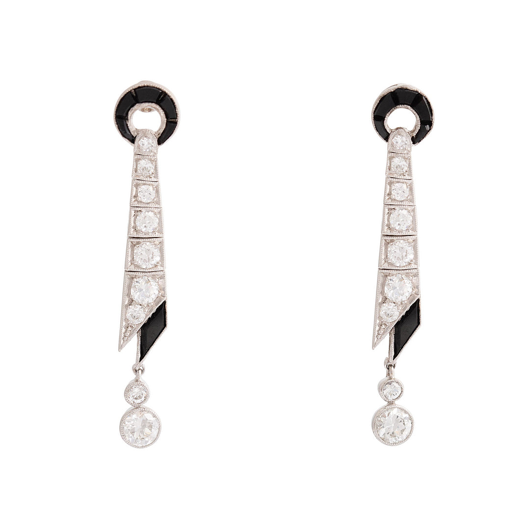 Art Deco Diamond and Onyx Dangle Platinum Earrings