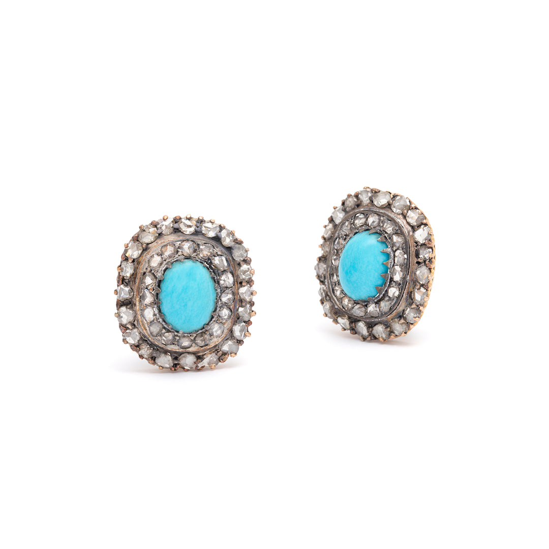 Victorian Turquoise and Diamond Cluster Silver and 14k Gold Earrings
