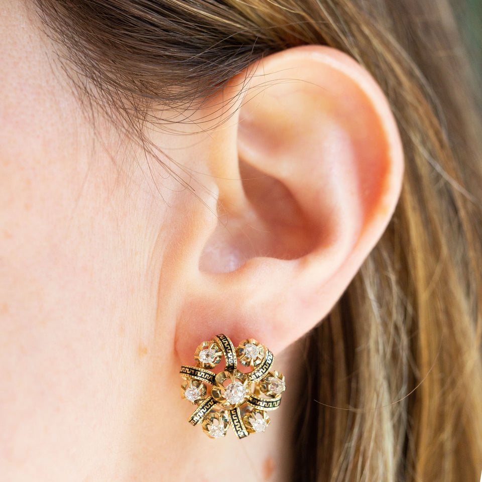 Victorian Old Mine Cut Diamond and Enamel 14k Gold Cluster Earrings