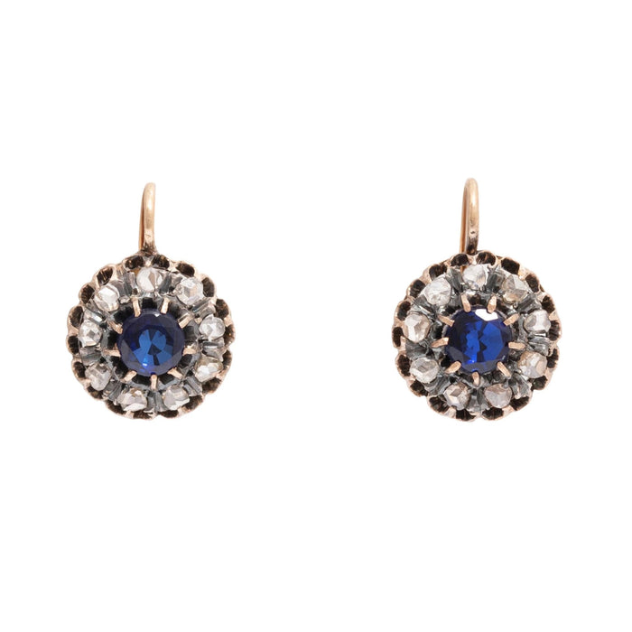 Victorian Sapphire and Rose Cut Diamond 18K Gold Cluster Earrings