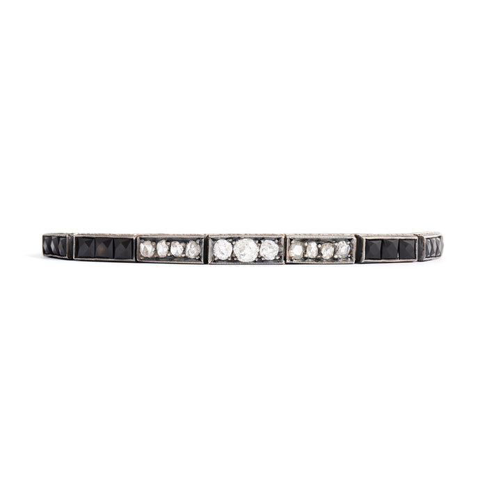 Old Cut Diamond and Onyx 18k Gold Line Bracelet
