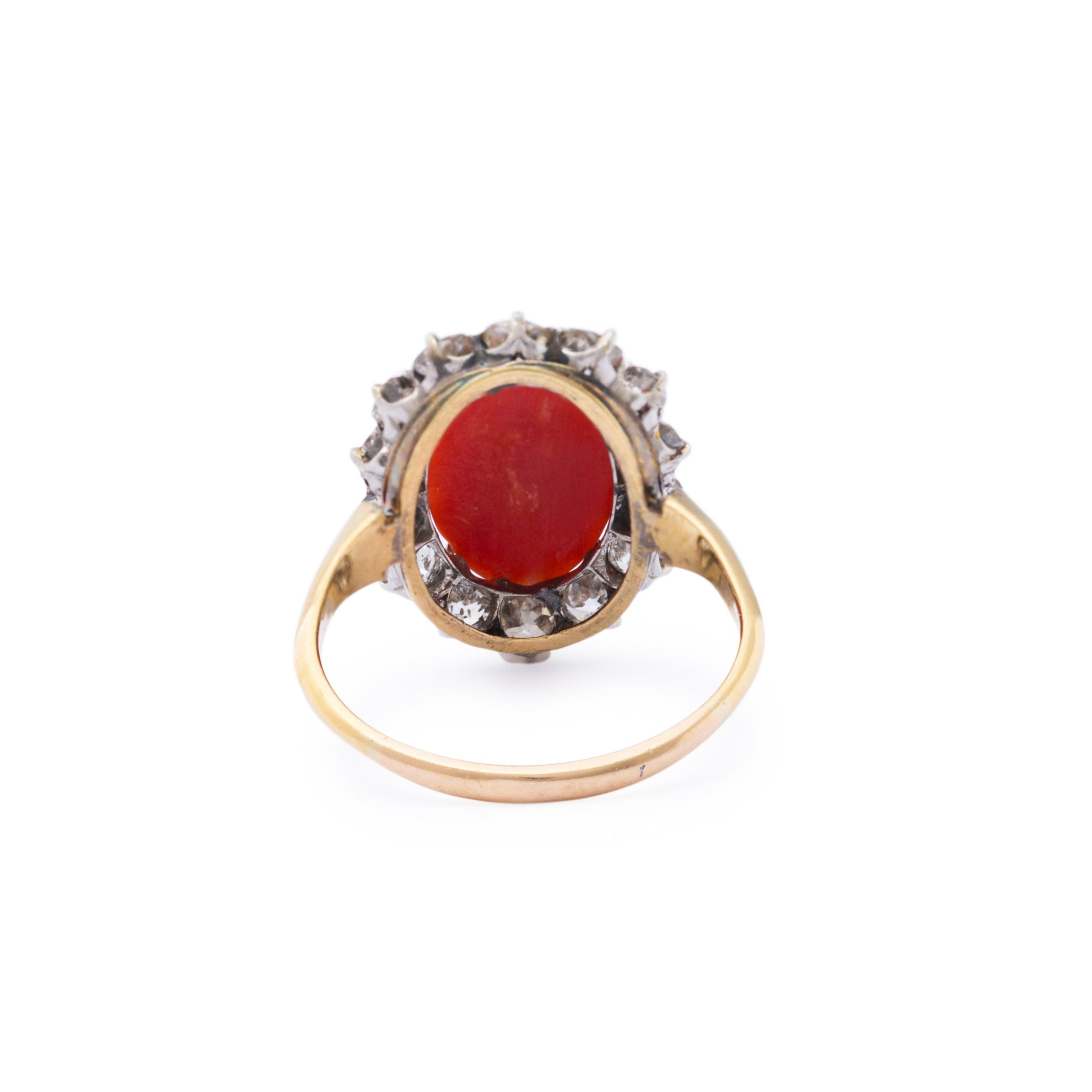 Victorian Coral and Diamond 14k Gold Cluster Ring