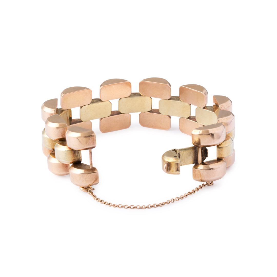 Retro Bi-Color 14k Gold Link Bracelet