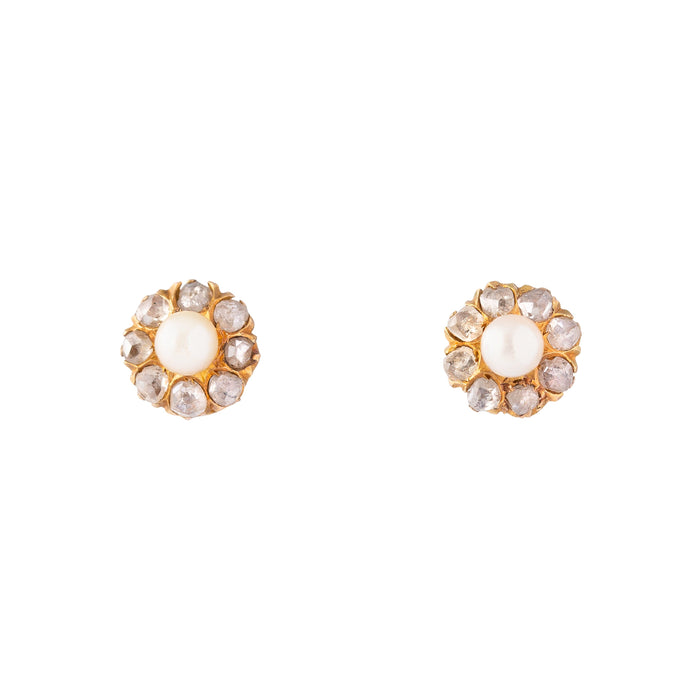 Pearl And Rose Cut Diamond Cluster 14k Gold Earrings