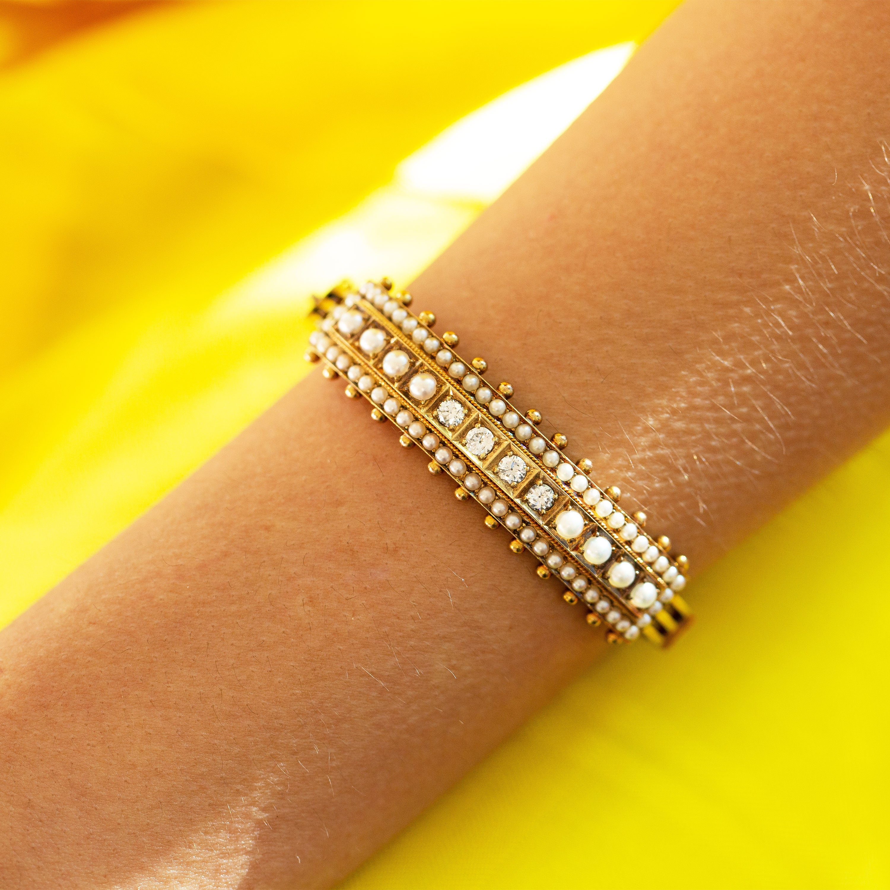 Victorian Diamond and Pearl 14k Gold Bangle Bracelet