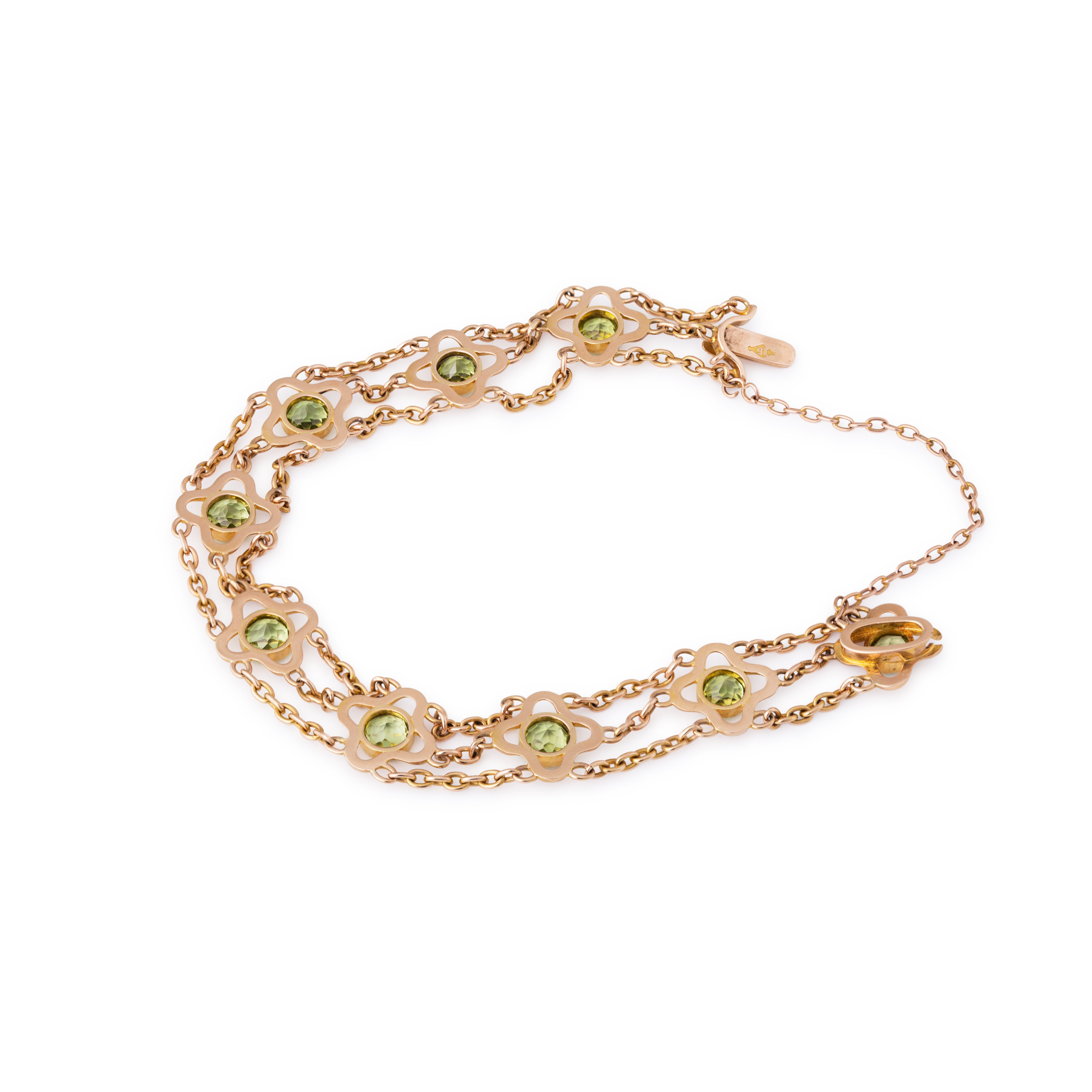 Victorian Peridot and 15k Gold Link Bracelet