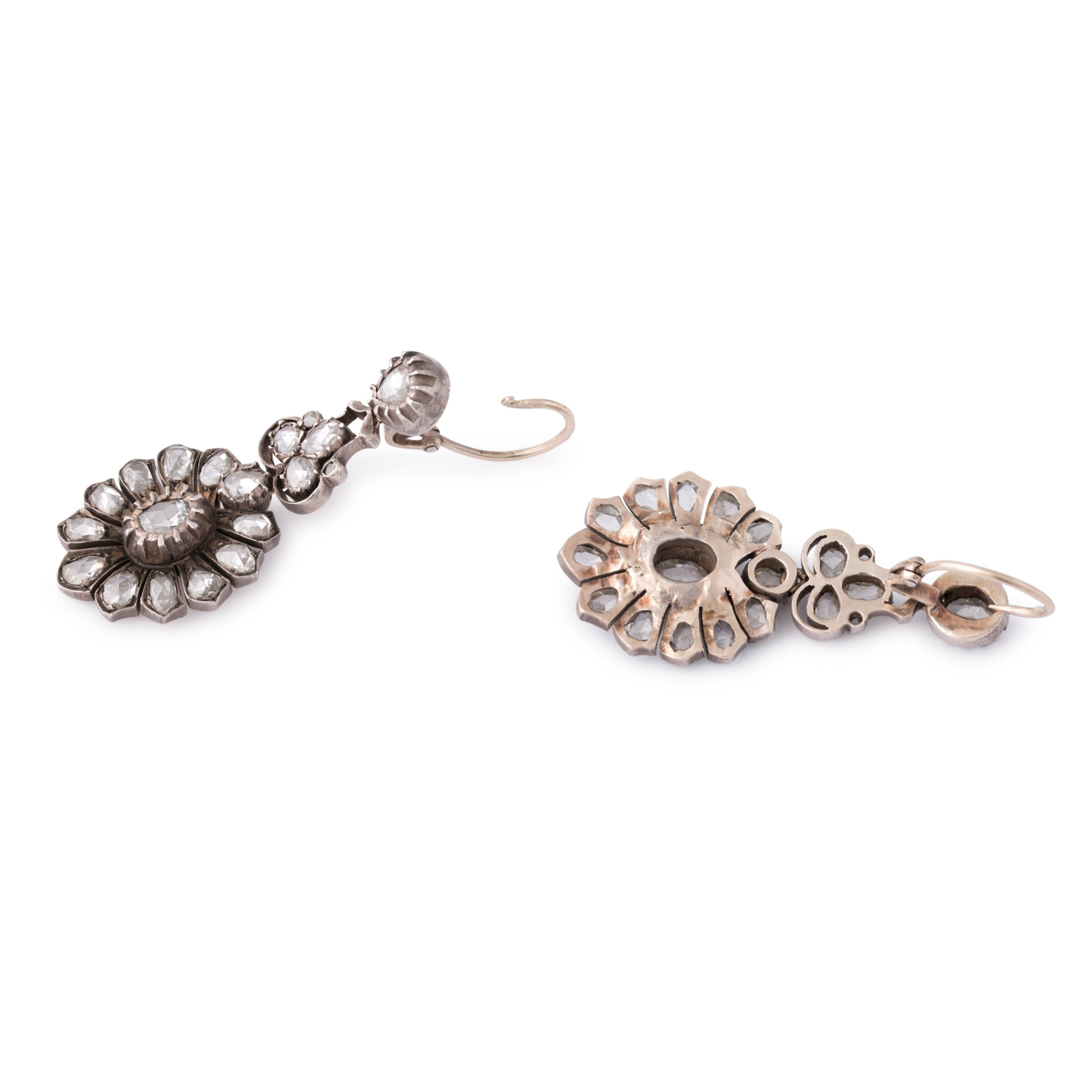 Victorian Rose Cut Diamond, 10k Gold, and Silver Earrings