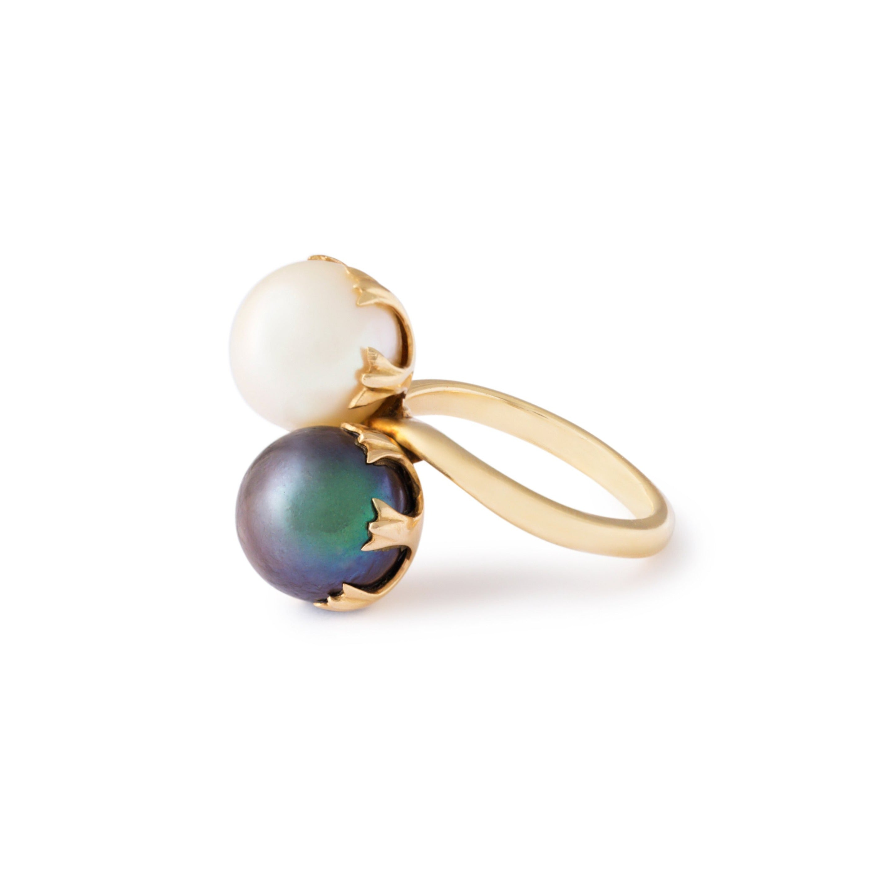 Toi et Moi Double Pearl And 14k Gold Ring