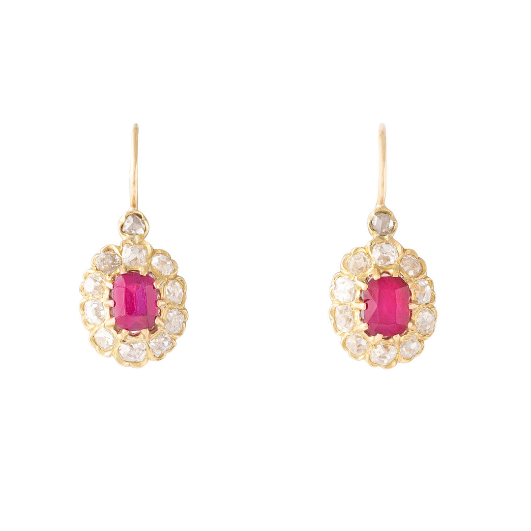 Victorian Ruby and Old Mine Diamond Cluster 14k Gold Earrings