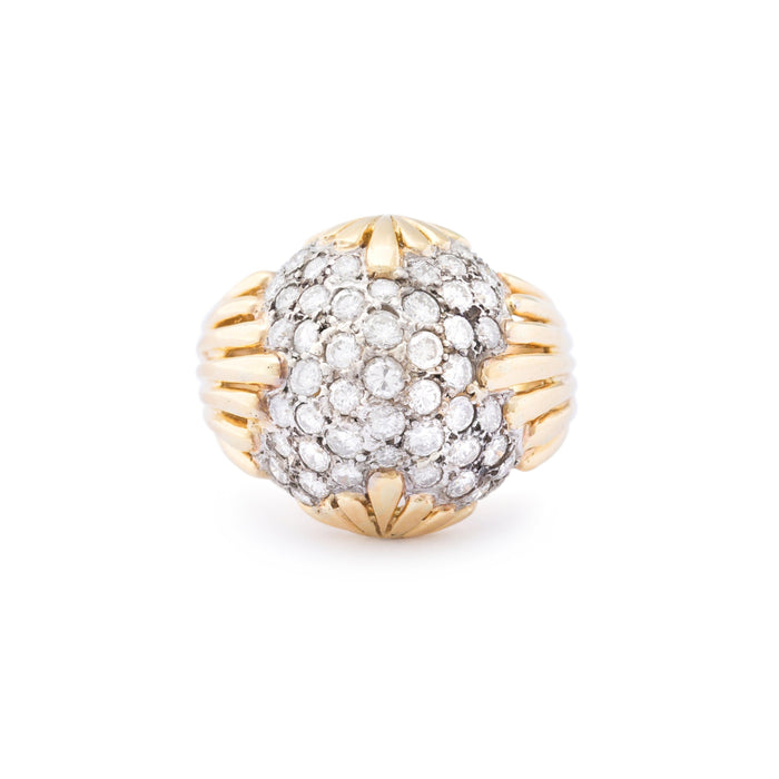 Diamond Pavé, 18k Gold, and Platinum Bombe Cocktail Ring