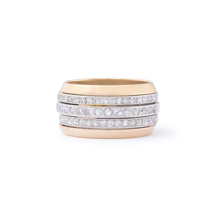 Three Row Diamond, Platinum, and 18k Gold Ring