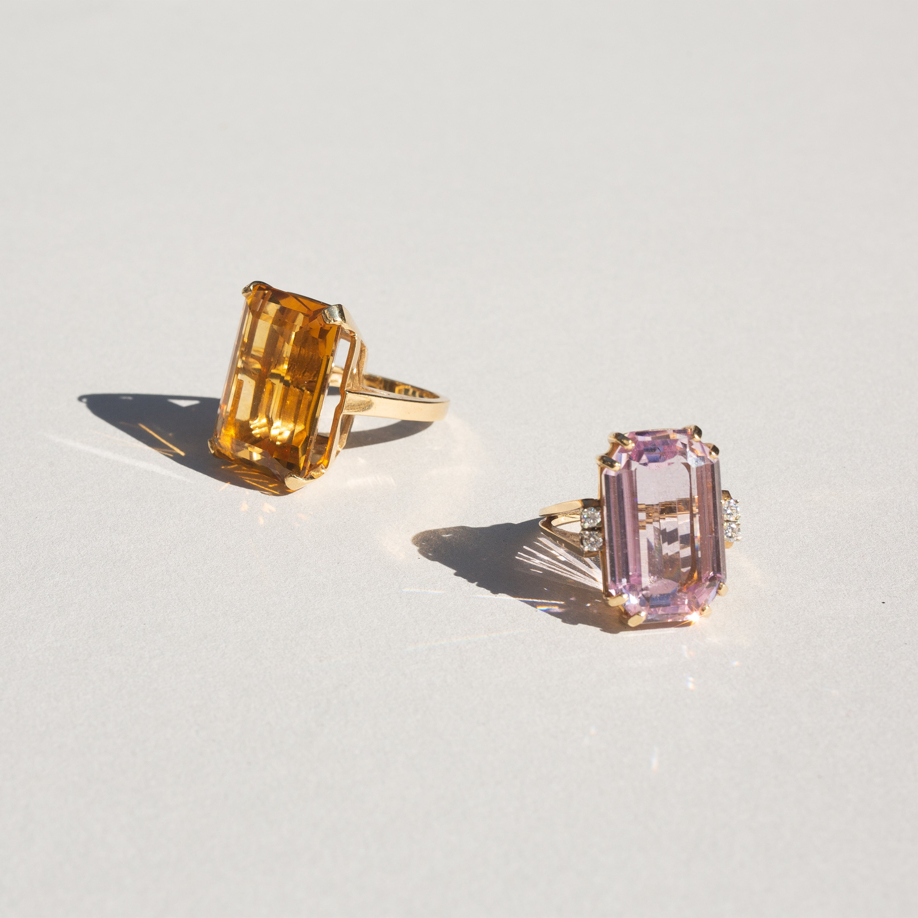 Large Kunzite and Diamond 14k Gold Cocktail Ring