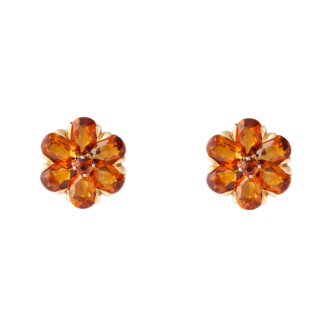 Citrine and 14K Gold Flower Earrings