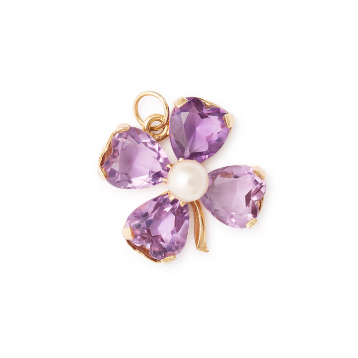 Four-Leaf Clover Amethyst and Pearl 14K Gold Charm