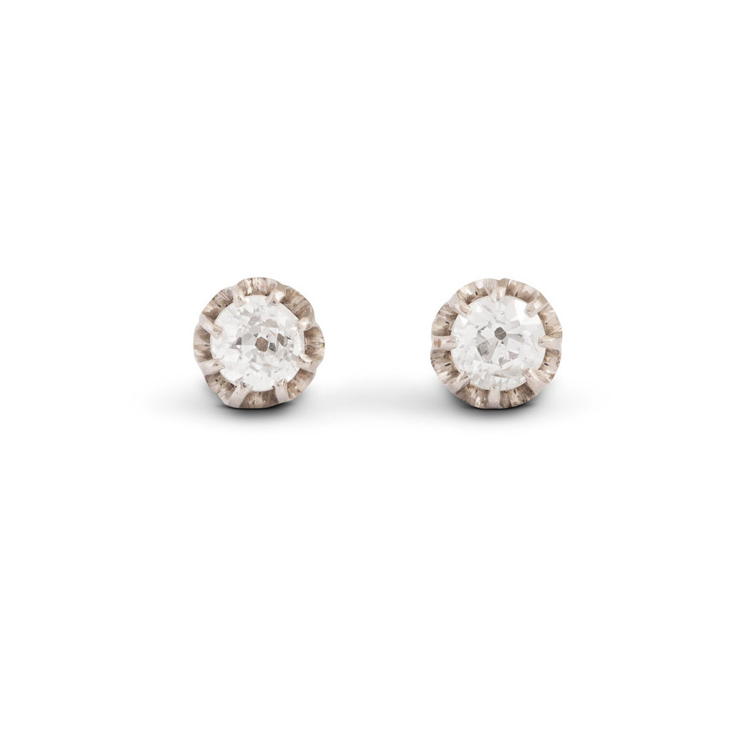 Old Mine Cut Diamond, Platinum, and 14k Gold Stud Earrings