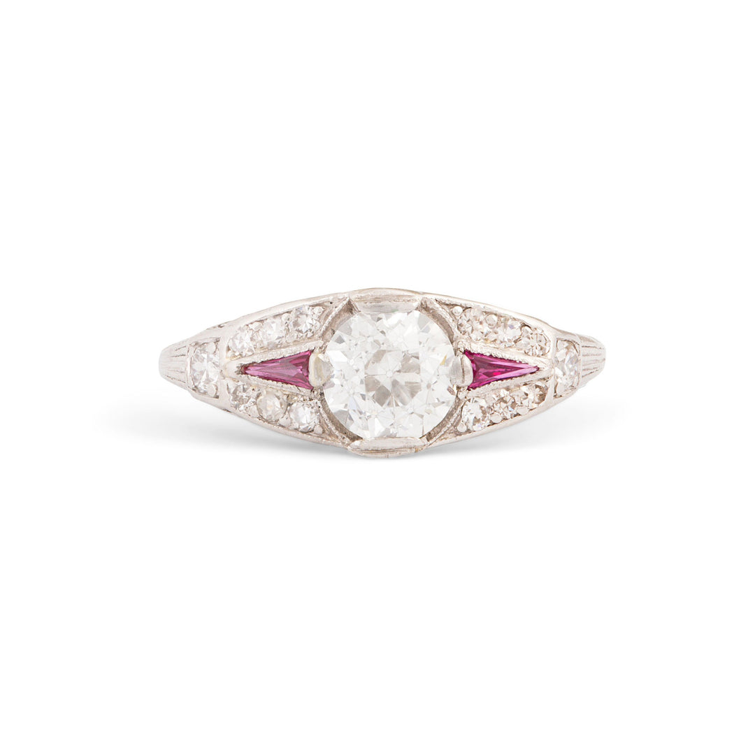 Art Deco Old European Cut Diamond, Ruby, and Platinum Ring