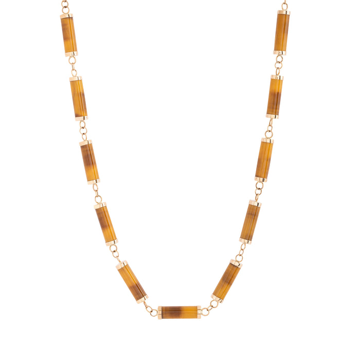"Tigers Eye and 14k Gold 33"" Beaded Necklace"