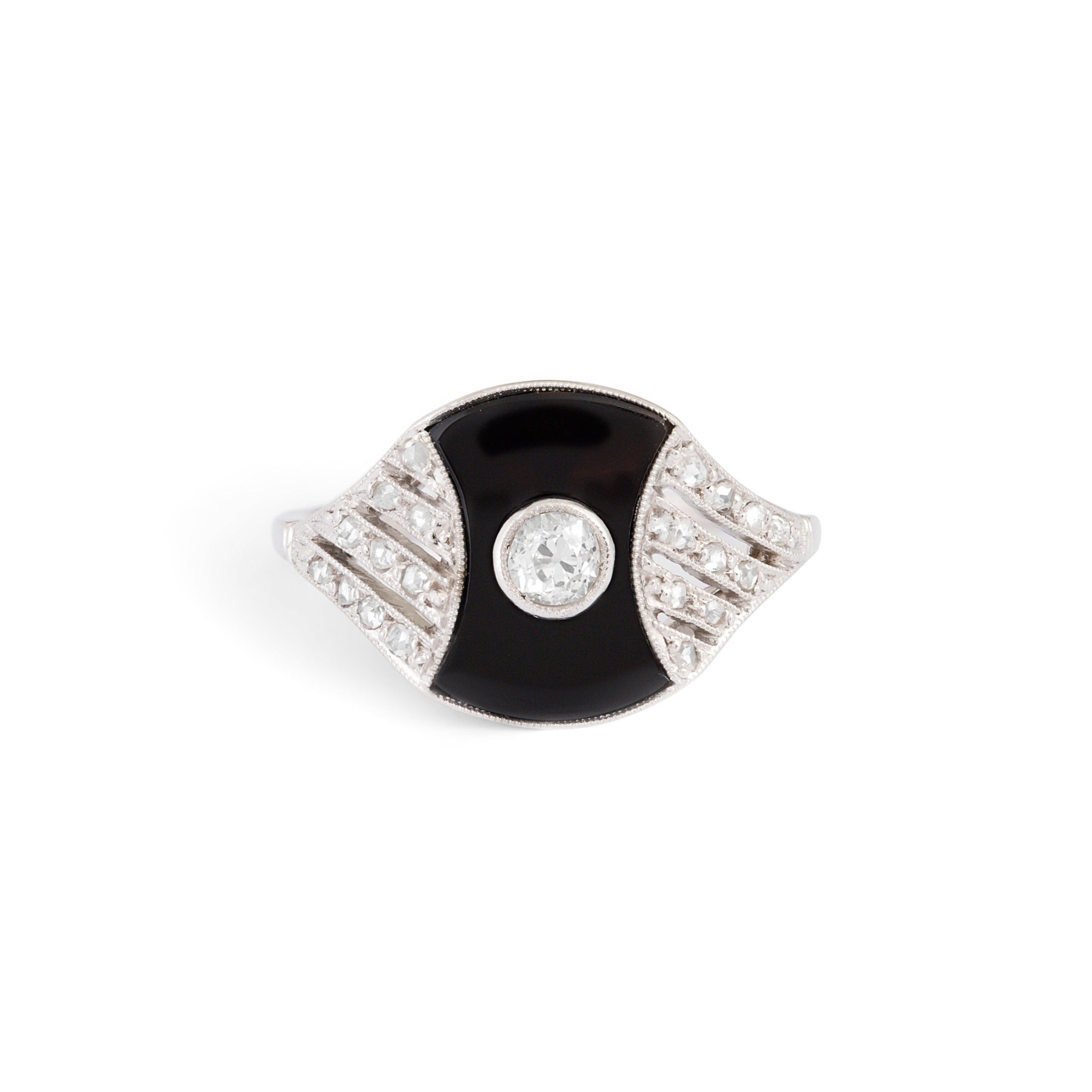 Austrian Art Deco Onyx, Diamond, and Platinum Ring