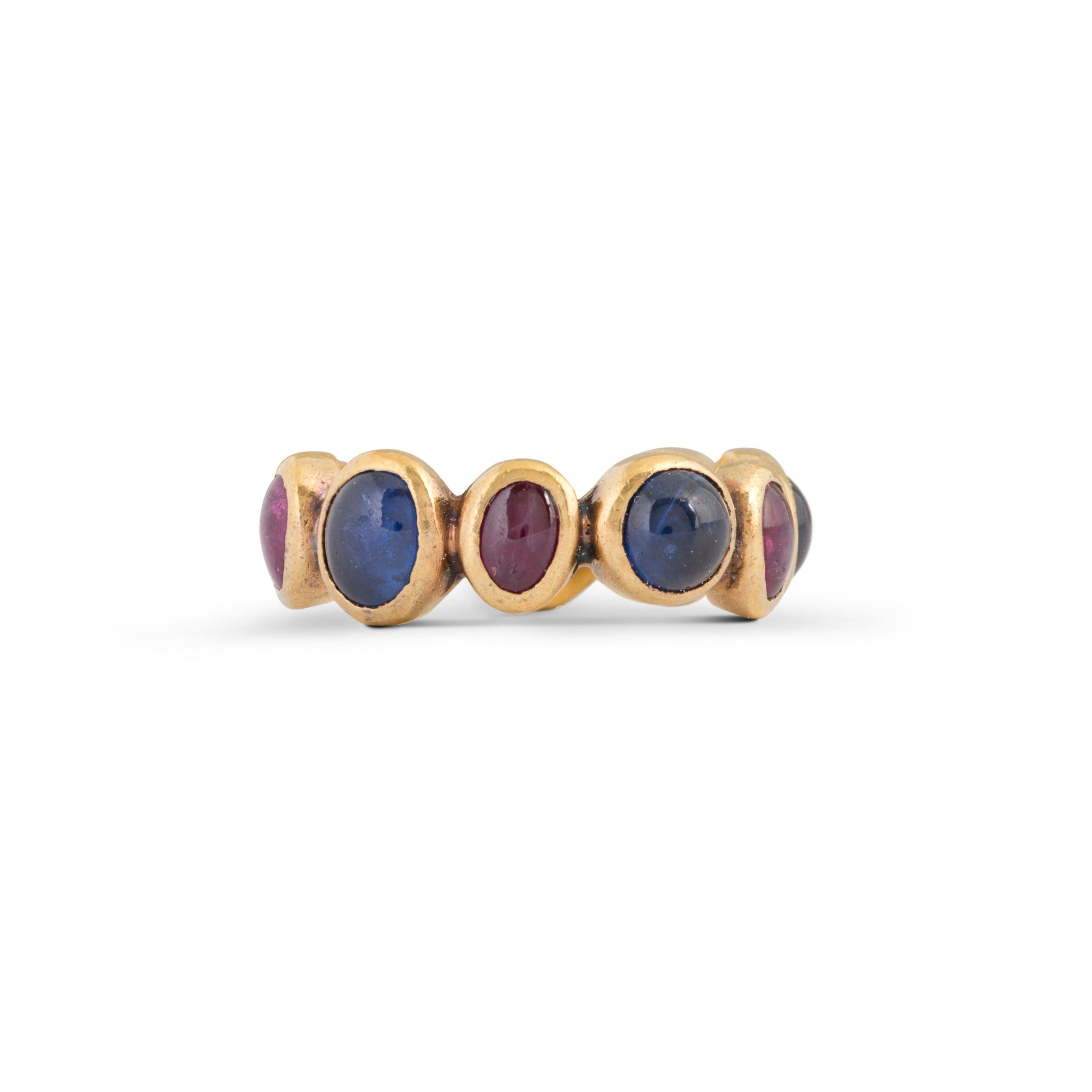 Ruby and Sapphire Cabochon 14k Gold Band