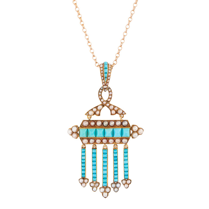 Victorian Turquoise and Pearl Fringe 14k Gold Pendant Necklace
