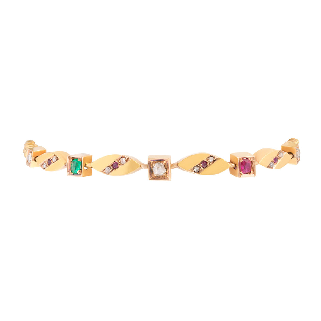 Victorian Diamond, Ruby, Emerald and 18k Gold Link Bracelet