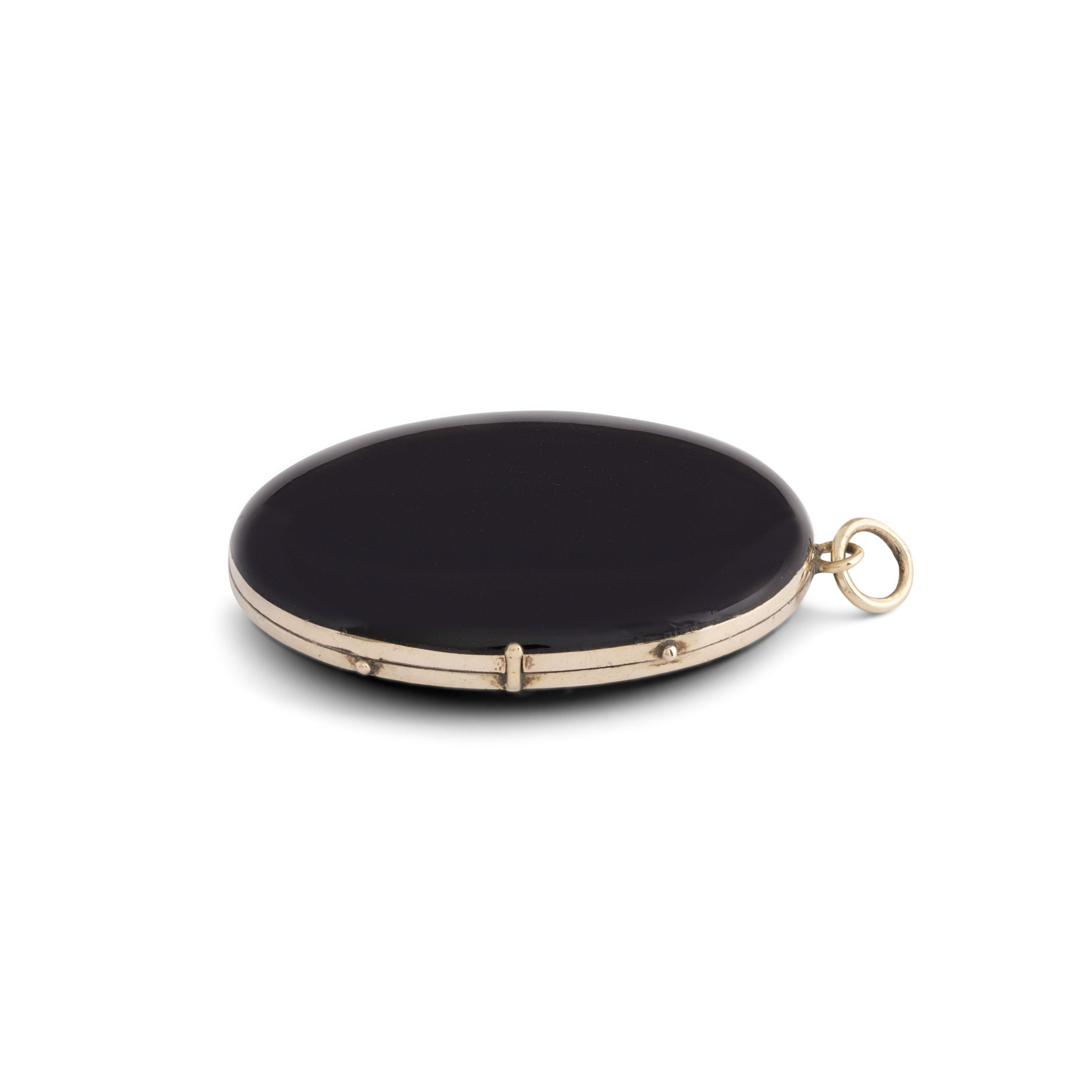 Victorian Black Enamel and 14k Gold Locket