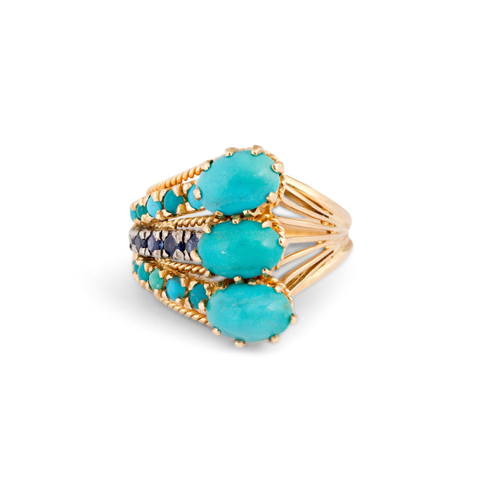 1970s Turquoise, Sapphire, and 14k Gold Cocktail Ring