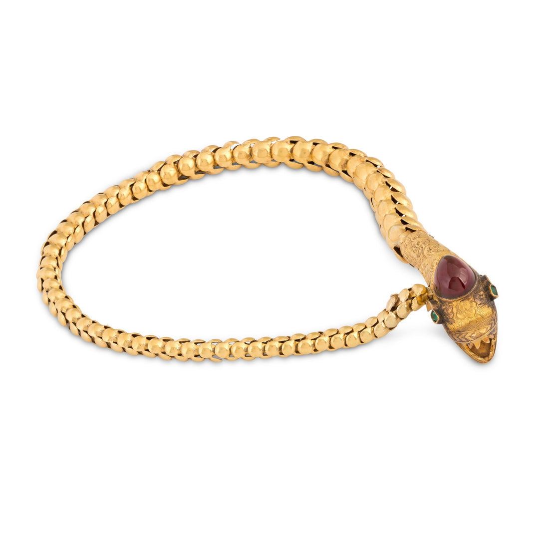 Victorian Garnet, Emerald, and 18K Gold Snake Bracelet